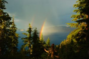 2011-8-20 Crater Lake, Double Rainbow Through the Trees